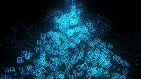 Голубые кубы на черной предпосылке Соединение кубов 3d с геометрическое полигональным cyberspace Символ дела бесплатная иллюстрация