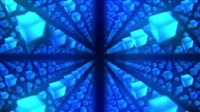 Голубые кубы на черной предпосылке Соединение кубов 3d с геометрическое полигональным E cyberspace Символ дела иллюстрация вектора