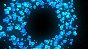 Голубые кубы на черной предпосылке Соединение кубов 3d с геометрическое полигональным cyberspace Символ дела иллюстрация вектора