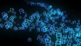 Голубые кубы на черной предпосылке Соединение кубов 3d с геометрическое полигональным cyberspace Символ дела иллюстрация штока