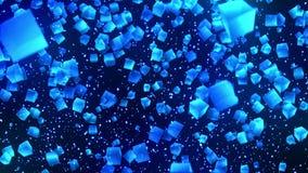 Голубые кубы на черной предпосылке Соединение кубов 3d с геометрическое полигональным E cyberspace Символ дела бесплатная иллюстрация