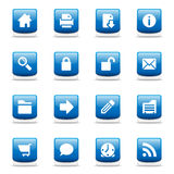голубые лоснистые иконы установили сеть Стоковое Изображение RF