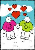 голубые люди 2 влюбленности Стоковое Изображение RF