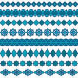 Голубые морокканские картины границы вектора Стоковая Фотография