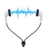 Голубые наушники аудио волны Стоковые Изображения RF