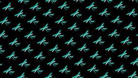 Голубые неоновые dragonflies на черной иллюстрации предпосылки 3D весны картины стоковая фотография