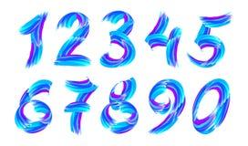 Голубые номера вектора ходов краски 3D установили изолированный на белой предпосылке иллюстрация вектора