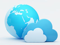 голубые облака облака вычисляя глобус Стоковые Фотографии RF