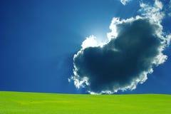 голубые облака field зеленое небо Стоковое фото RF