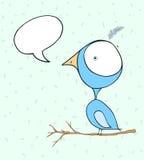 Голубые обои doodle птицы с пузырем текста Стоковая Фотография RF