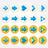Голубые объемные стрелки. Комплект иконы знака стрелки. иллюстрация вектора