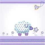 голубые овцы приветствию карточки Иллюстрация штока