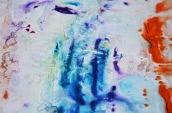 Голубые оранжевые фиолетовые серые пастельные цвета, абстрактная предпосылка краски Пятна картины Стоковое Фото