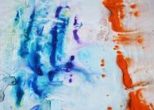 Голубые оранжевые фиолетовые серые цвета, абстрактная предпосылка краски Пятна картины Стоковая Фотография