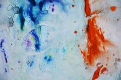 Голубые оранжевые черные серые цвета, абстрактная предпосылка краски Пятна картины Стоковое Изображение RF