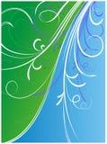 голубые орнаменты зеленого цвета цветка Стоковое фото RF