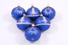 голубые орнаменты рождества Стоковая Фотография