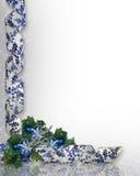 голубые орнаменты рождества граници Стоковые Изображения