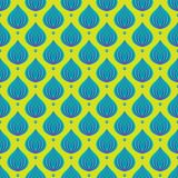 Голубые падения на зеленой предпосылке, текстуре год сбора винограда Стоковые Изображения RF