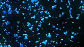 Голубые пирамиды на черной предпосылке Соединение пирамиды 3d с геометрическое полигональным cyberspace Символ дела иллюстрация вектора