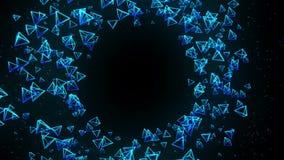 Голубые пирамиды на черной предпосылке Соединение пирамиды 3d с геометрическое полигональным cyberspace Символ дела иллюстрация штока