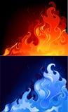 голубые пламена красные Стоковая Фотография RF