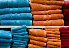 голубые померанцовые полотенца Стоковая Фотография