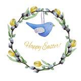 Голубые птица игрушки и венок тюльпанов pussy-вербы бесплатная иллюстрация