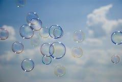 голубые пузыри над небом Стоковая Фотография RF
