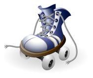 голубые развязанные коньки ролика шнурка Стоковая Фотография