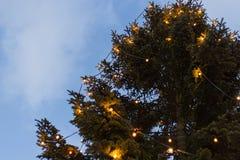 голубые рождественская елка и украшение часа на marke xmas пришествия стоковые изображения rf