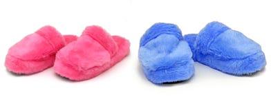 голубые розовые тапочки Стоковые Изображения RF
