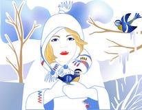голубые руки девушки помогая tit Стоковые Фото
