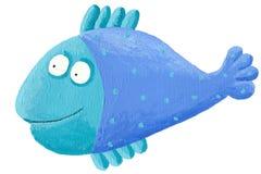 голубые рыбы смешные Стоковая Фотография RF