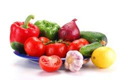 голубые свежие овощи плиты Стоковая Фотография