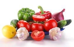 голубые свежие овощи плиты Стоковая Фотография RF
