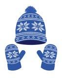 Голубые связанные шляпа и перчатки зимы иллюстрация вектора