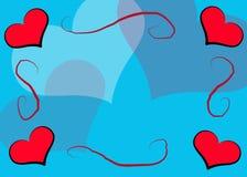 голубые сердца рамки Иллюстрация вектора