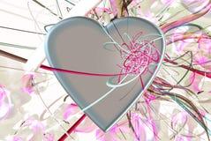 Голубые сердца, тесемки и цветки Стоковая Фотография