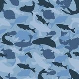 Голубые силуэты камуфлирования рыб, текстуры защиты безшовной бесплатная иллюстрация