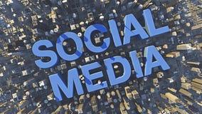 Голубые социальные средства массовой информации отправляют СМС в городе между небоскребами и зданиями иллюстрация вектора