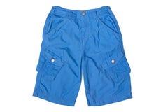 Голубые спорт замыкают накоротко с карманн на сторонах изолированных на белой предпосылке стоковая фотография