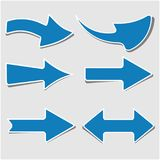 Голубые стрелки установили - правое и левое направление Стоковое Фото