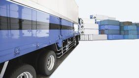 Голубые тележка контейнера и коробка контейнера в грузить логистический stat Стоковая Фотография