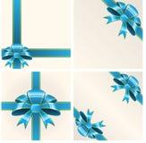 голубые тесемки смычка Стоковые Изображения