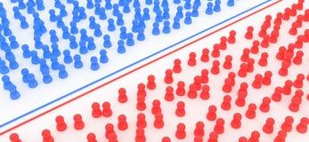 голубые толпы красные Стоковое фото RF