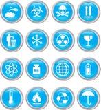 голубые установленные иконы Стоковые Фотографии RF