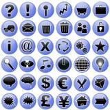 голубые установленные иконы Стоковое Фото