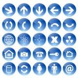 голубые установленные иконы vector сеть иллюстрация штока