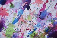 Голубые фиолетовые зеленые розовые цвета, абстрактная предпосылка краски Пятна картины Стоковое Фото
